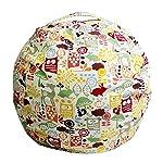 Handfly Canvas Stuffed Animal Storage Bean Bag Kids Plush Toy Storage Soft Pouch Stripe Fabric Chair