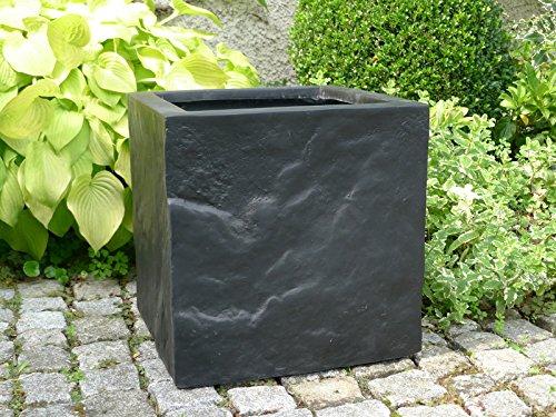 Blumenkübel BLOXX aus Fiberglas wie orig. Granitgestein, Pflanzkübel, Pflanzgefäße, Pflanztöpfe, quadratisch (30x30x30 cm, Schwarz)