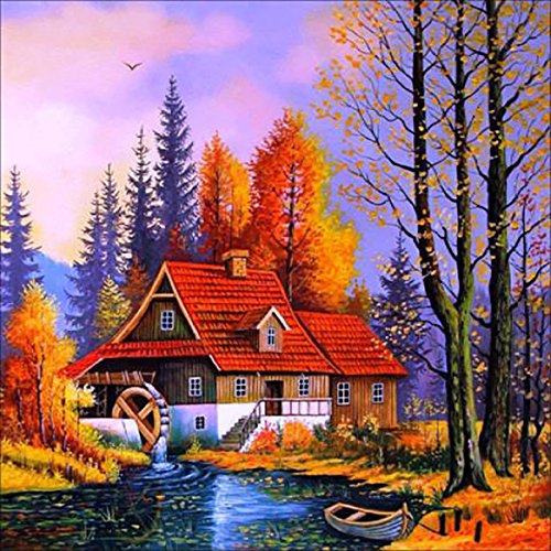 DIY 5D Diamond Painting by Number Kits, Full Drill Crystal Rhinestone Embroidery Pictures Arts Craft for Home Wall Decor Gift,Hut in The Woods