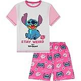 Girls Lilo and Stitch Stay Weird Pink White Short Pyjamas