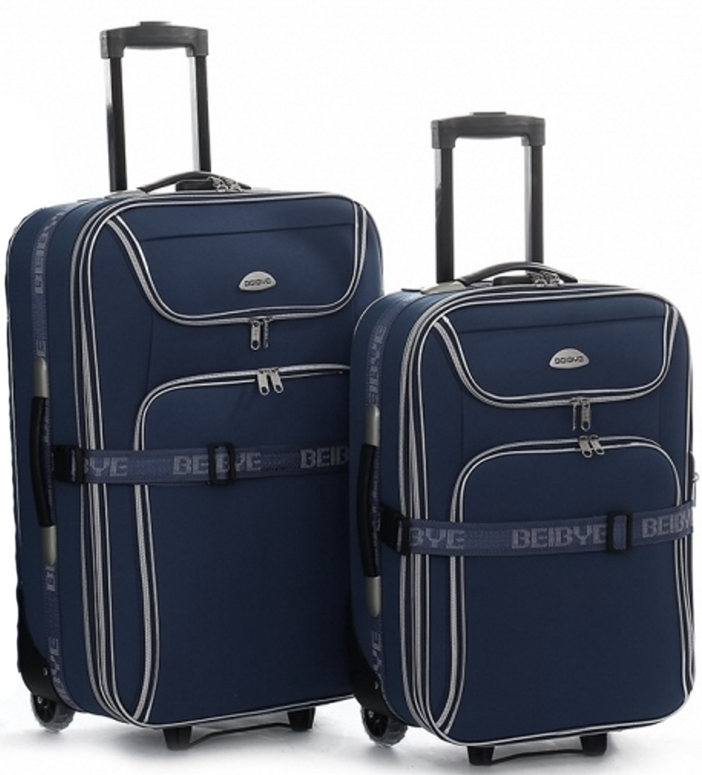 Trolley-Koffer-SET-XXL-Volumen-2-Trolleys-76-56-cm-Dehnfalte-Dunkelblau