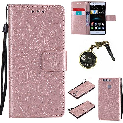 Preisvergleich Produktbild für Smartphone Huawei P9 Hülle, Hochwertige Kunst-Leder-Hülle mit Magnetverschluss Flip Cover Tasche Leder [Kartenfächer] Schutzhülle Lederbrieftasche Executive Design +Staubstecker (4FF)