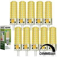 10pz MENGS® Lampada Dimmerabile LED 7W G4 72x 2835 SMD LEDs (Bianco Freddo 6500K, 360 angolo, 400lm, AC/DC 12V, 17 x 56mm) Lampadine a risparmio energetico