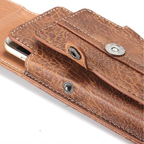 PU Cuir Phone Case [Capacité 5.1 Pouces] Universel Sacoche Etui tactique Téléphone Portable Sac Randonnée pour Smartphone avec Boucle Crochet de Ceinture pour iPhone 8 4.7 Pouces, iPhone 5/5S/SE, iPho Marron