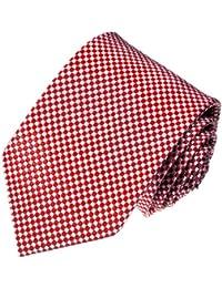 LORENZO CANA-Rotule Luxe Jacquard tissés à la main 100%  soie italienne, sous-vêtements, cravates-Rouge - 84469 Motif à carreaux Blanc