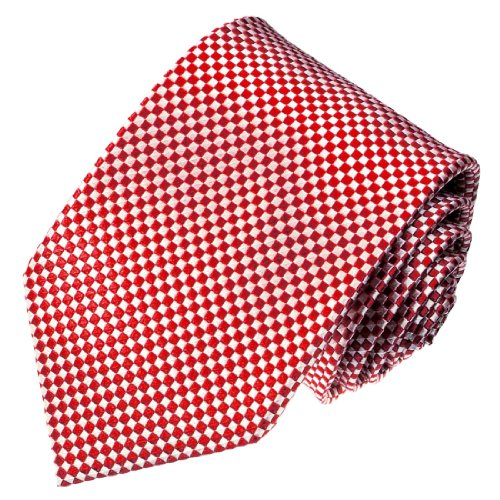 LORENZO CANA - Karierte Marken Krawatte aus 100 % Seide - rot weisse Karos - 84469