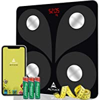 ActiveX (Australia) Savvy Bluetooth Body Fat Scale Smart BMI Scale Digital Bathroom Weight Scale, Body Weight Scale with Free ActiveX App – Black With Free Measuring Tape