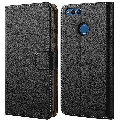 HOOMIL Honor 7X Hülle, Handyhülle Huawei Honor 7X Tasche Premium PU-Leder Flip Case Brieftasche Etui Schutzhülle für Huawei Honor 7X Cover - Schwarz (H3206)