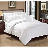 Moon Hotel Stripe Comforter 6Pcs Set, King Size, Bg-002, White, Cotton