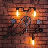 Loft Retro Edison Wheel Bearing Bike Wrought Iron Wall Lights for Living Room Bedrooms Bar Cafe Vintage Industrial Metal Steampunk Water Pipe Wall Lamp Sconces Length: 75 cm