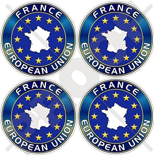 Union européenne France Carte forme eu-fr europe-french 50 mm (5,1 cm) bumper-helmet en vinyle autocollants, Stickers x4