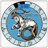 Präzisions-Digital-Körpergewicht-Skala-Astrologie-ultra dünne ausgeglichenes Glasbadezimmer-Skala Genaue Gewichtsmessungen, alte Illustration der Steinbock-Ikone mit Zeichen-Mythologie-Grieche-Saturn-