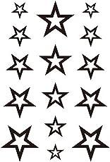 Generic 3D Temporary Tattoo Stars Design, 10.5x6cm (lack, SSRT0008) - Set of 1