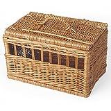 Transportbox aus geschälter Weide Tierkorb für Katzen und kleine Hunde.