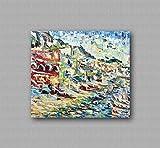 Marco decorativo contemporáneo de la lona, sala de estar, pinturas abstractas y originales como los impresionistas, hecho a mano con óleo sobre lienzo Puliafico - MARINA GRANDE 80x70cm