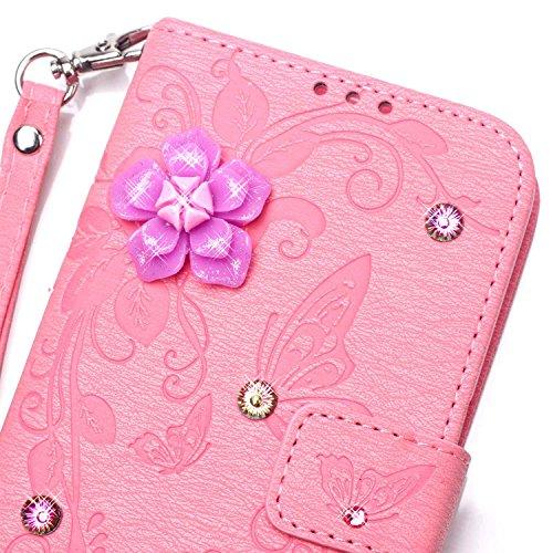 Ecoway Case / Cover / Phone Case / Case pour iPhone 7 Plus papillon incrusté motif de diamant Bling Crystal Glitter Strass gaufrage design Folio PU Housse en cuir dans le livre de style avec support f rose