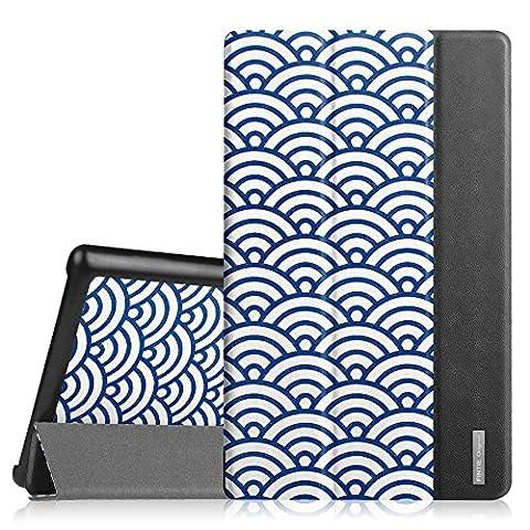 Fintie Fire HD 8 2015 Hülle - Ultra Slim Lightweight Schutzhülle Tasche Smart Shell Case mit Standfunktion und Auto Sleep / Wake Funktion für Amazon Fire HD 8.0 Zoll (5. Generation - 2015) Tablet, Japanische Welle