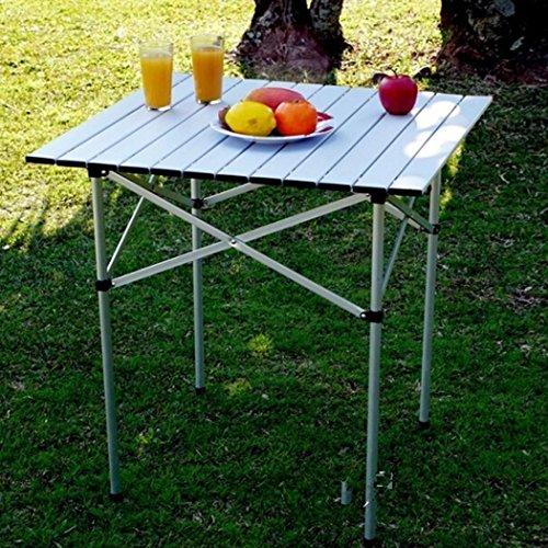 Lonlier Mesa Plegable Aluminio Portátil para Camping Jardín Picnic al Aire Libre 69 x 68 x 69cm