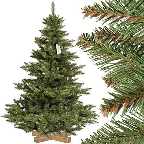 FairyTrees Weihnachtsbaum künstlich NORDMANNTANNE, grüner Stamm, Material PVC, inkl. Holzständer, 150cm -