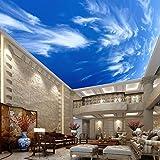 Wallpaper Experten Verniciatura Personalizzata Blue Sky Nuvole Bianche Parete Di Soffitto Dipinto Murale Moderno Design 3D Soggiorno Soffitto Camera Wallpaper Papel De Parede 200cmX140cm(78.7 by 55.1 in )