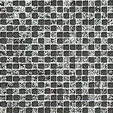 Carrelage mosaïque en verre. Noir. Effet verre craquelé ou fissuré. Les feuilles entières de carreaux mesurent 30cm x 30cm (MT0043)
