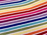 LushFabric Multi Streifen Weiß Rainbow Jersey Knit Elasthan – 4 Way Stretch Rib Cuff Stoff – 155 cm Breit (Meterware)