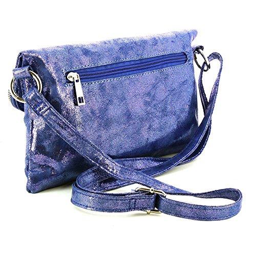 Pochette brillante à rabat zip et pompons franges Bleu