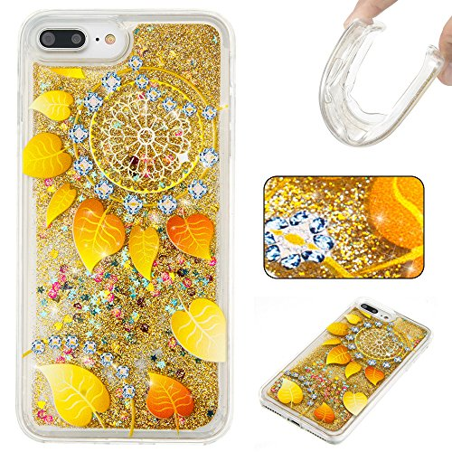 For iPhone 7 PLUS 5.5[CUTE SPARKLING]Novelty Creative Liquid Glitter Design Liquid Quicksand Bling Adorable Flowing Floating Moving Shine Glitter Case -PURPLE EIFFEL GOLD LEAVES