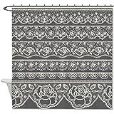 """rioengnakg blanco patrón de flores de encaje cortina de ducha de poliéster resistente al agua maletero moho Resitant, poliéster, #1, 66""""x72""""(165x180cm)"""