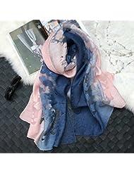 La versión coreana de la nueva hembra color gradiente Eugen tallada hilo hueco encaje de seda Mantón Bufanda de invierno All-Match aire acondicionado,azul