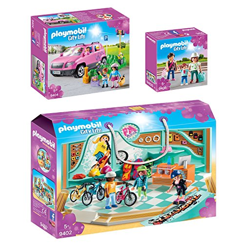 PLAYMOBIL® City Life 3er Set 9402 9404 9405 Bike & Skate Shop + Familien-Pkw mit Parkbucht + Shopping Girls
