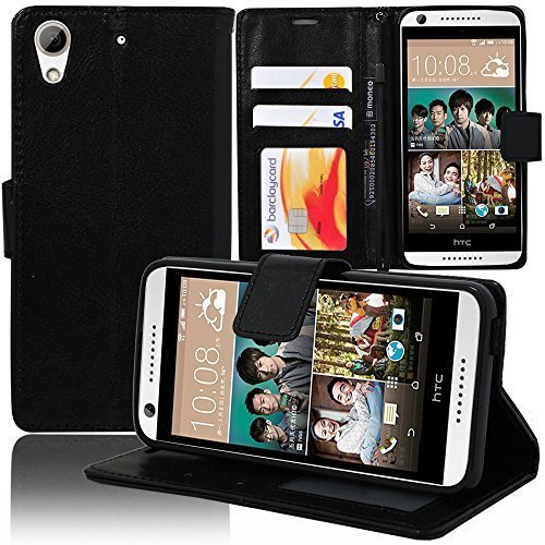 VCOMP® Housse Coque Etui portefeuille Support Video Livre rabat cuir PU pour HTC Desire 626/ 626s/ 626G/ 626G+/ 626 (USA) - NOIR