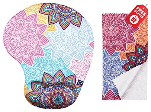 Bunte Mandala ergonomische Design-Mausunterlage mit Handgelenk-Unterstützung. Gel Handauflage. Passendes Mikrofaser-Reinigungstuch. Mauspad für Laptop, PC und Mac.