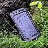 10000mAh Portable Solar Battery Charger Power Bank Rain Resistant Dust-proof and Shock-Resistant Dual USB Port Output External Battery Backup for iPhone iPad Cell Phone Smart Phone Tablet Camera etc.- Mastore DN23 (Black)
