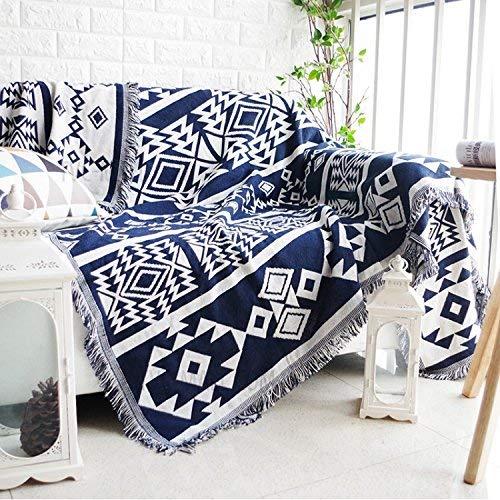 Benchmart 100% Gewebte Baumwolle Überwurf Decke Chenille Jacquard Sofa Bezug Handtuch Sofa Stuhl Bezug Tischdecke Decke, B, 230CM*250CM (Baumwolle Gewebte Tischdecke)