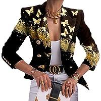 Tomwell Blazer Donna Casual Stampa Cappotto Solido Aperto Giacca Slim Elegante Top Manica Lunga Business Blazer Corto…