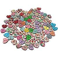 Dosige Botones 100 PCS Corazón de melocotón de seguridad 2 agujeros, Botón Imprimir para coser Scrapbooking, manualidades Colores aleatorios