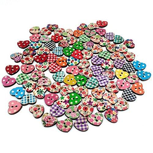Cosanter 100 Pezzi Bottoni Pulsanti In Legno A Forma Di Cuore 2 Fori Pulsanti Accessori Per Cucire A Mano Novità Pulsante Fai Da Te