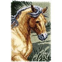 Vervaco PN-0150907 Knüpfteppich Pferd Knüpfpackung zum Selbstknüpfen eines Teppichs, Stramin, Weiß, 45 x 70 x 0, 30 cm