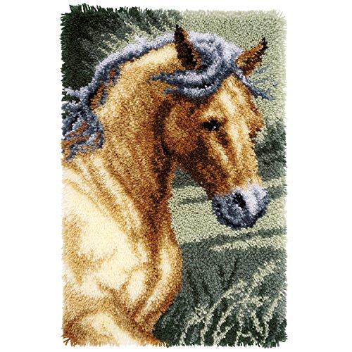 Vervaco Knüpfteppich Pferd Knüpfpackung zum Selbstknüpfen eines Teppichs, Stramin, weiß, 45 x 70 x 0,3 cm