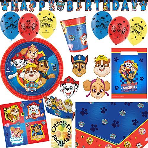 HHO Paw Patrol Party-Set 64tlg. Teller Becher Servietten Tischdecke Tüten Einladung Masken Banner Luftballon für 8 Hundefans