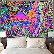 Qchengsan Psychedelic Arabesque Tapestry Trippy Smoke Mushrooms Wall Tapestry Hippie Art Tapestry Abstract Tap