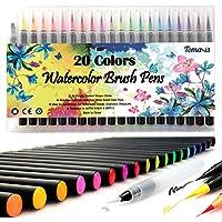 Feutres Lot de 20blocs d'art aquarelle Brosse stylos pour livres de coloriage DIY esquisse Bullet Journal calligraphie Peinture avec de l'eau 1pinceau stylo feutre