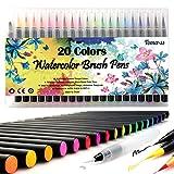Pinselstift-Set Pinselstiften Aquarellpinsel Brush Pen Set Wassеrtankpinsеl Stifte mit variabler Spitze für Malen Zeichnen Fasermaler Handlettering, Zendoodle, Kalligrafie und Mangas Brush Lettering 20er Pinselset