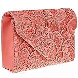 ZARLA pochette con motivo floreale in pizzo, Borsa da donna, per abiti da sera, abiti da sera, Rosa (Corallo),