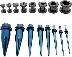 1 Set Flesh Tunnel Expansor Orecchio Tappo e 1 Set Dilatatore Taper Expander colori brillanti 1,6-10mm 16 pezzi