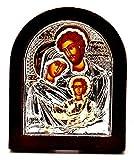 Jerusalem The Family Byzantinische Ikone, Sterling-Silber 925, behandelt, Größe 9 x 7 cm