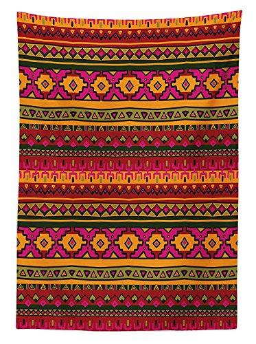 yeuss Azteken Tischdecke Outdoor, South American Abstrakt Grenzen mexikanischen peruanischen Folk Art Elements Boho Doodle, dekorative waschbar Picnic Tischdecke, 52' x 70'(132 x 178 cm) (52 X 70 Tischdecke)