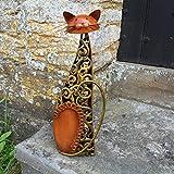 Métal Chat assis Sculpture/Statue/Figurine/ornement–Bronze et doré tourbillons–Intérieur/extérieur Cat Figure–39cm