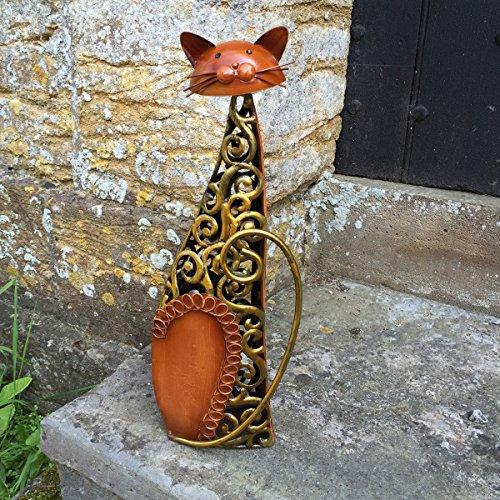 Metal sentado gato Escultura/estatua/figura/adorno–BRONCE Y Oro Remolinos–Indoor/Outdoor CAT Figura–39cm